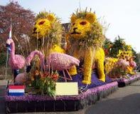 Leones y flamenco hechos de las flores Coche adornado con las flores, desfile de la flor imagenes de archivo