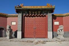 Leones y puerta de piedra Imagen de archivo libre de regalías