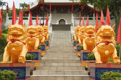 Leoni cinesi del tempio, giardini cinesi, Singapore Immagine Stock