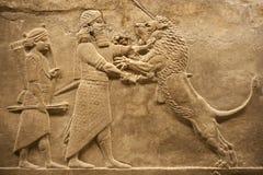 Leoni di caccia del guerriero di Assirian Fotografie Stock