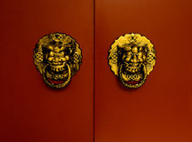 Leoni dorati sul portello rosso Fotografia Stock Libera da Diritti