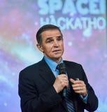 Leonid Kadeniuk Konferencja astronauta Obrazy Stock
