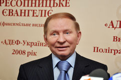 Leonid Kuchma. Ex-President of Ukraine Leonid Kuchma (1994-2005) at the launch of the printing of a first page translated into modern Ukrainian language Stock Photo