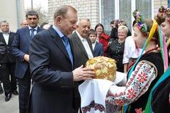 Leonid Kuchma in Chortkiv Stock Afbeeldingen