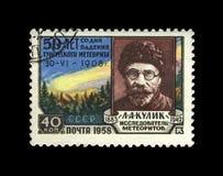 Leonid Kulik sovjetisk meteoristutforskare, 50th årsdag av Tungusmeteor som faller, USSR, circa 1958, Royaltyfria Foton