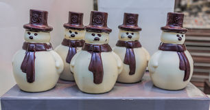 Leonidas Chocolate Snowmen Fotografia de Stock Royalty Free