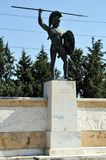 Leonidas statue in Thermopylae, Greece. A modern monument at the Thermopylae site, called the `Leonidas Monument`, in honour of the Spartan king. The Battle of stock photo