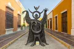 Leonora Carrington statue on the street of Campeche Mexico stock photography