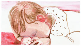 Leontine. Hand painted picture with the little baby Royalty Free Stock Photography