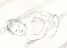 Leontine, drawing. Picture with the new born little baby Royalty Free Stock Image