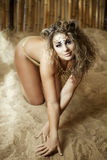 leopard κοριτσιών όπως την πολυτ Στοκ εικόνα με δικαίωμα ελεύθερης χρήσης