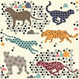 Leopard with abstract pattern and repeat print. Leopard with abstract pattern and repeat seamless print Stock Photos