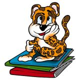 Leopard as school-boy. Leopard 10 - High detailed and coloured illustration - Leopard as school-boy royalty free illustration