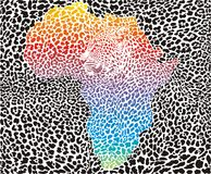 Leopard background with a symbol of Africa Royalty Free Stock Images