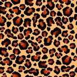 Leopard black  brown seamless background. Watercolor hand drawn animal fur skin royalty free stock image