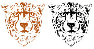 Leopard in black interpretation. Cheetah heads in vector format Royalty Free Stock Images