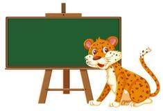 A leopard and blackboard banner vector illustration