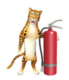 Leopard cartoon character with fire extinguishing. 3d rendered illustration of Leopard cartoon character with fire extinguishing Stock Images