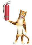 Leopard cartoon character with fire extinguishing. 3d rendered illustration of Leopard cartoon character with fire extinguishing Stock Photography