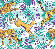 Leopard / cheetah  and palm leaves tropical  seamless pattern. Royalty Free Stock Images