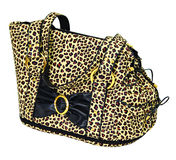 Leopard cloured bag for dog Stock Photos