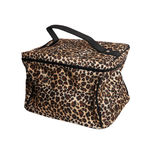 Leopard cosmetics bag isolated on white Royalty Free Stock Photos