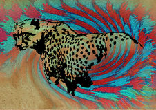 Leopard. Decorative illustration of leopard in abstract background Stock Photography