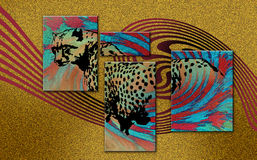 Leopard. Decorative illustration of leopard in abstract background Stock Photos