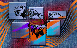 Leopard. Decorative illustration of leopard in abstract background Royalty Free Stock Image