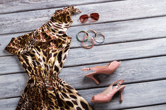 Leopard dress and heel shoes. Royalty Free Stock Photo