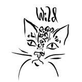 Leopard-Druck Illustration des Wildkatzekopfes Lizenzfreies Stockbild