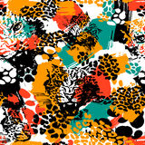 Leopard exotic cat seamless pattern. Royalty Free Stock Photos