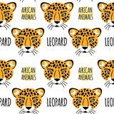 Leopard face with lettering on a white background isolated.  Royalty Free Stock Image