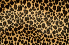Leopard fur texture. Background of artificial leopard fur Stock Photo