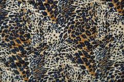 Leopard-Gewebe-Blau, Tan u. Sahne Stockbild
