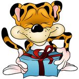 Leopard and Gift Stock Photo