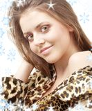 Leopard girl stock photo