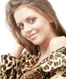 Leopard girl royalty free stock photo