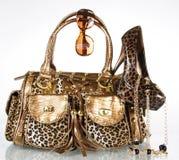 Leopard handbag,shoe,sunglasses and gold necklace stock photos