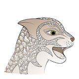 Leopard head vector illustration, Big gray cat. Royalty Free Stock Images