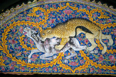 Leopard hunt on mosaic arch Royalty Free Stock Photography