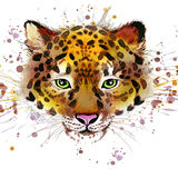 Leopard illustration with splash watercolor textured background Royalty Free Stock Images