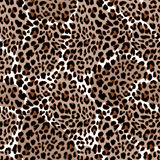 Leopard or jaguar seamless pattern. Modern animal fur design. Vector illustration background Stock Photo