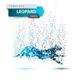 Leopard in the jump - dot illustration. vector illustration