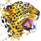 Leopard knurrt T-Shirt Grafiken, Leopardillustration mit Spritzenaquarell Texturhintergrund Lizenzfreies Stockbild