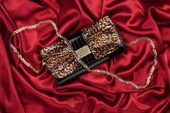 Leopard lacquer bag lying on a red silk Stock Image