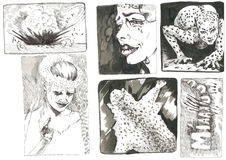 Leopard lady. Hand drawings inspired by classic underground comix Stock Image