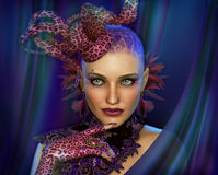 Leopard Lady, 3d CG Royalty Free Stock Photo