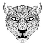 Leopard line art design for coloring book for adult, tattoo, t shirt design and so on Stock Images