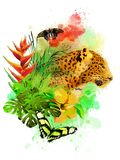 Leopard and butterflies on a rainbow of paint drops. royalty free stock photography